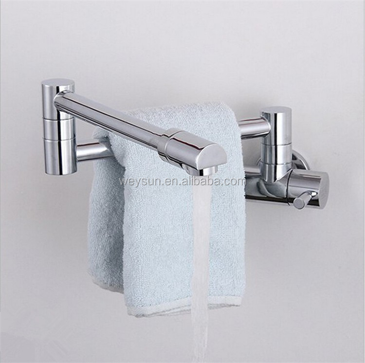 Kitchen Faucets Brass Folding Chrome Sink Faucet Wall Mounted Water ...