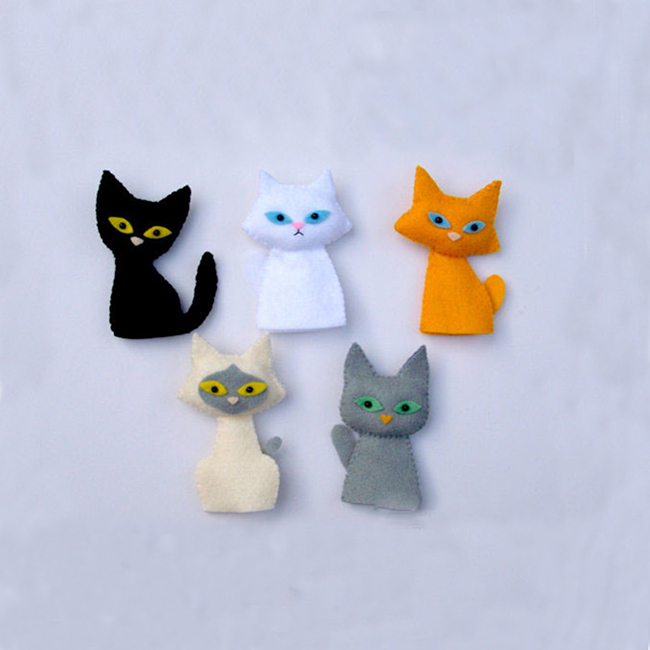 Wholesale handmade 100% plush felt cat animal finger puppet and story