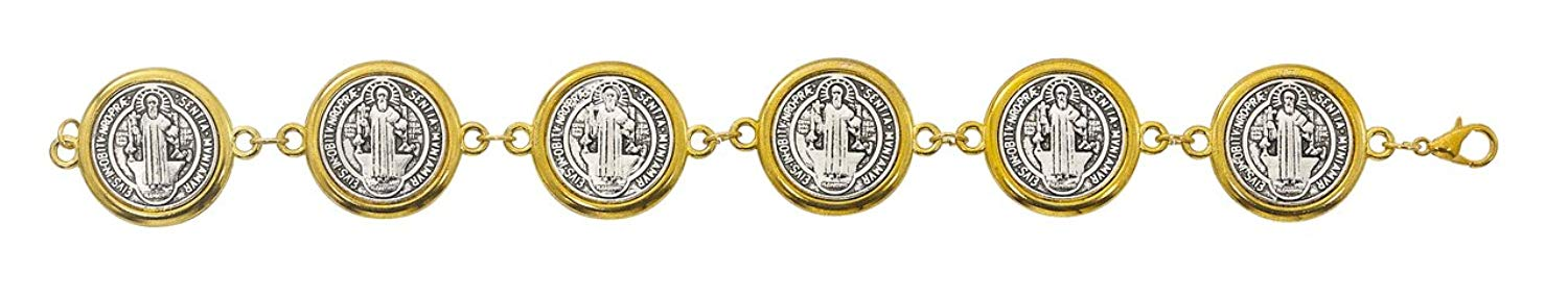 TWO TONE SILVER OX ST. BENEDICT BRACELET WITH CLASP, GOLD & SILVER TONE, COMES GIFT BOXED.