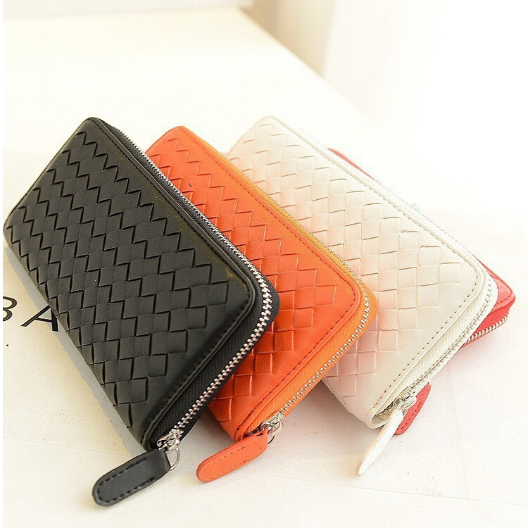 Wholesale & Retail Japan Popular Brand Women Wallets Knitted Leather Purse Handmade Long Zip Around Wallets Women Clutch Wallet