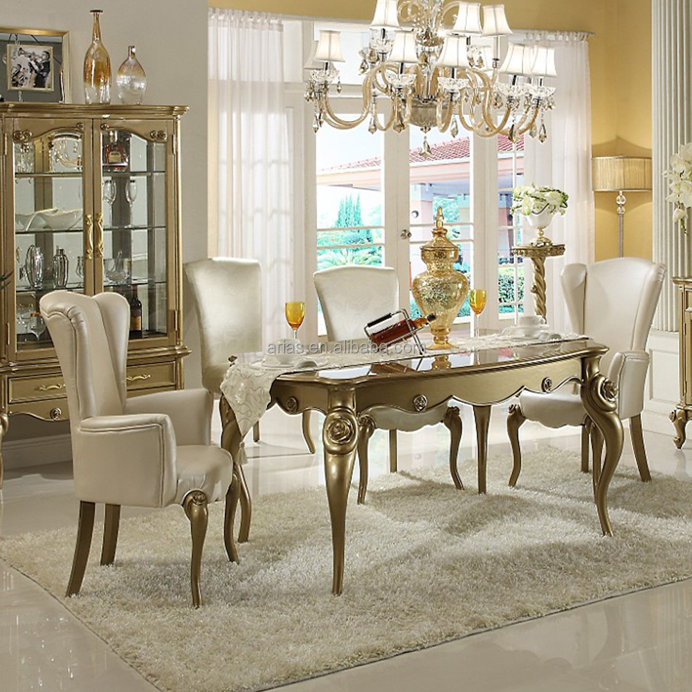 New Classic Round Glass Dining Table And 6 Chairs