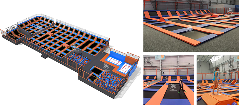 New Design Innovative Free Jump Commercial Rectangle Outdoor Trampoline Park with Mini Ninja Course
