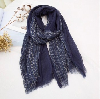 Fashion cotton material 90*180cm navy blue color printing scarf