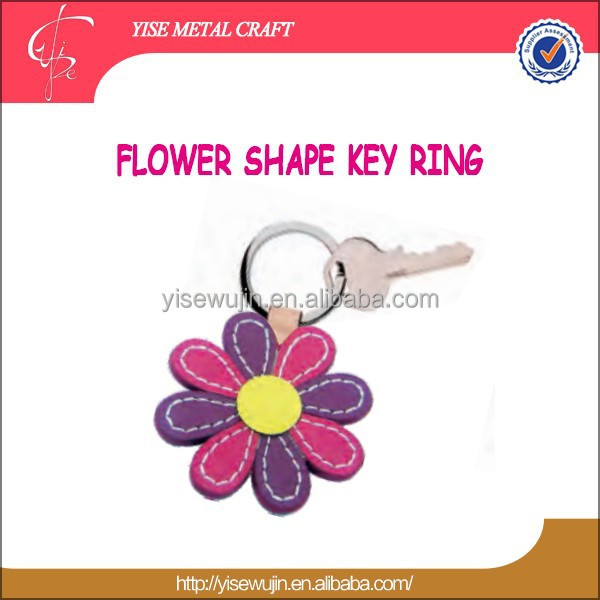 Wholesale OEM Promotional colorful flower Leather key holder chain key ring for girls ladies Car house key