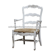 White Painted Cane Rushed Arms Chair