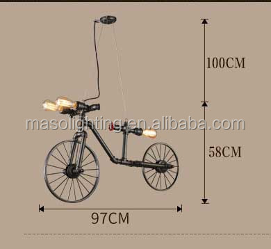 2017 Loft Vintage Wall Lamp/Pendant light Chandelier Water Pipe Light Hanging Decorative Bicycle Lamp