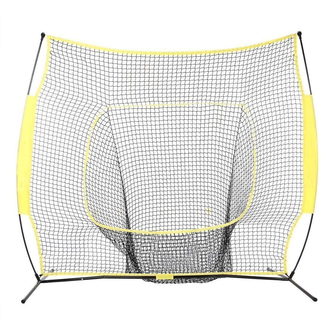 Mewalker 7 x 7ft Baseball Softball Practice Net, Professional Portable Baseball Hitting Pitching Batting Training Net with Carry Bag (US STOCK)