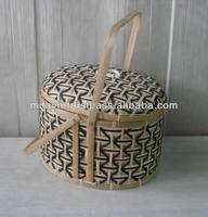 Handicrafted bamboo picnic basket wicker storage baskets with lids eco friendly products