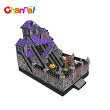 Halloween inflatable haunted house with dual slide inflatable bounce slide inflatable slide for commercial