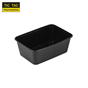 960ml black microwavable take away food containers square disposable plastic meal box