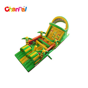 Tropical inflatable obstacle slide obstacle bouncer inflatable obstacle course toy for kids