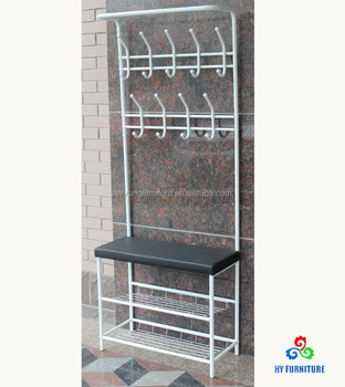 Hall Tree Metal Shoe Storage Shelf Coat Rack Stand with Bench Seat