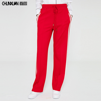 Newest women red casual wide leg 스포츠 pants 긴 striped gym 조깅 바지
