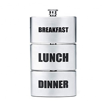 Stainless Steel Triplets 3-in-1 Stainless Steel Breakfast Lunch Dinner Triple Alcohol Drinking Novelty Hip Flask 3x3 oz