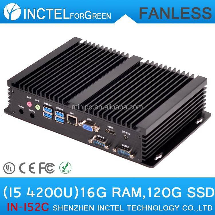 Fanless PC Computer Embedded PC Desktop HTPC with Intel i5 processor 2 COM 4 USB3.0 16G RAM 120G SSD