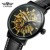 Black Genuine Leather Strap Water Resistant Watch 3 ATM New Arrival Skeleton Watch For Man