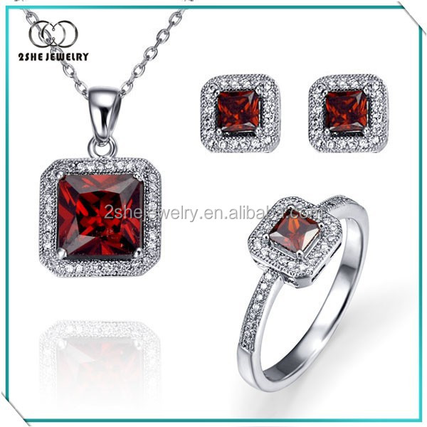 Hot Sale Square cz 925 silver necklace jewelry set