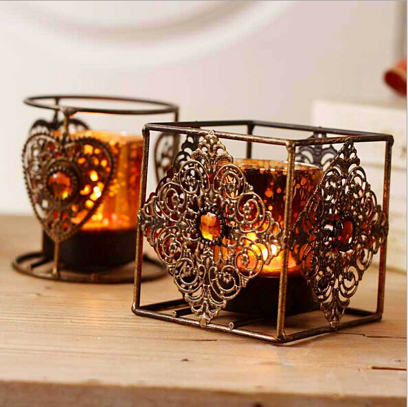 2016 Bohemian Style Bronze Candlesticks Stand Lantern Metal Weddings Lantern Rotera Candle Holder House Shop Decoration