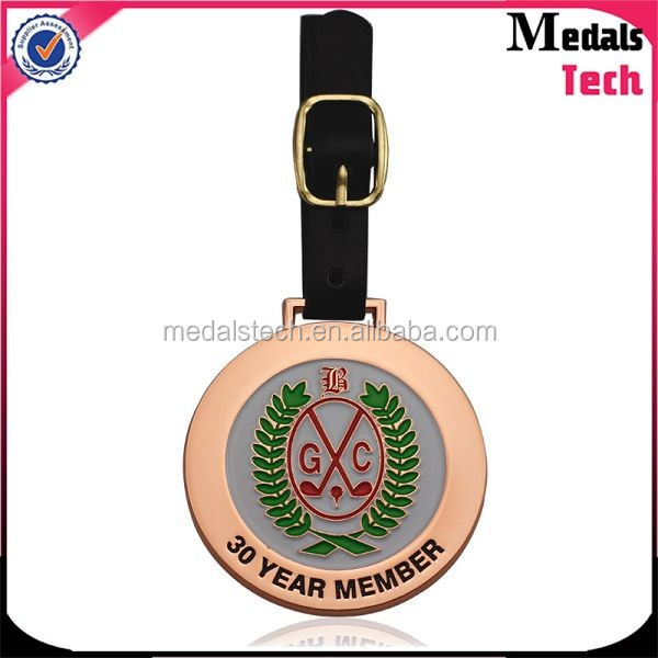 Factory wholesale custom plating gold silver brass metal golf bag tags