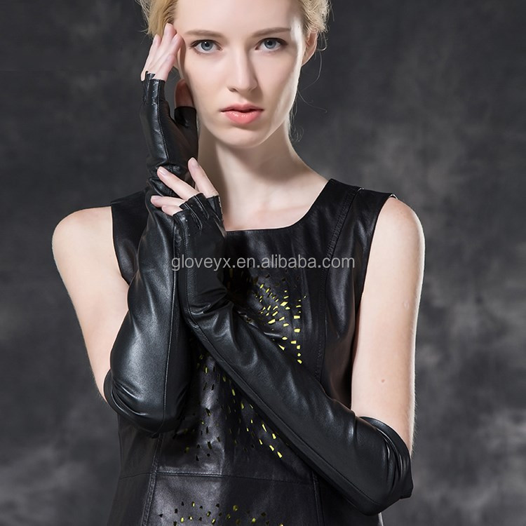 Ladies Fashion Black Long Leather Fingerless Gloves