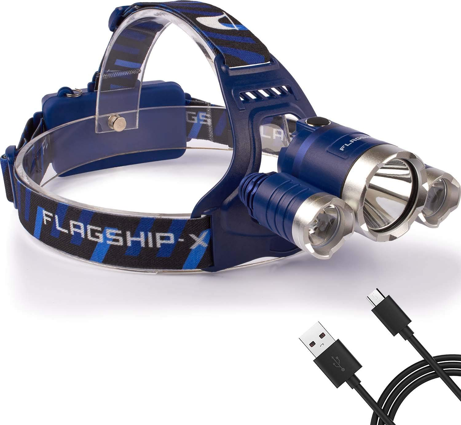 Flagship-X Nighthawk USB Rechargeable Waterproof LED Camping Headlamp Flashlight For Running