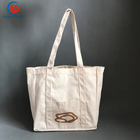 eco-friendly standard size canvas bucket tote bag with outside pockets