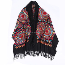 New arrival wholesales brilliant large soft cashmere feeling tippets shawls wrap winter sun florals embroidered pashmina scarves