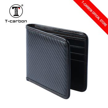 T-carbon Genuine Leather Carbon Fiber ID Credit Card Holder Wallet Black 67bd5dbff