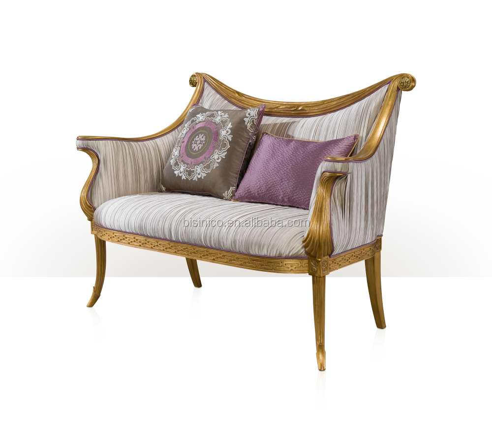 - Antique Classic Palace Chaise Lounge Gold-plated Engraved Loveseat