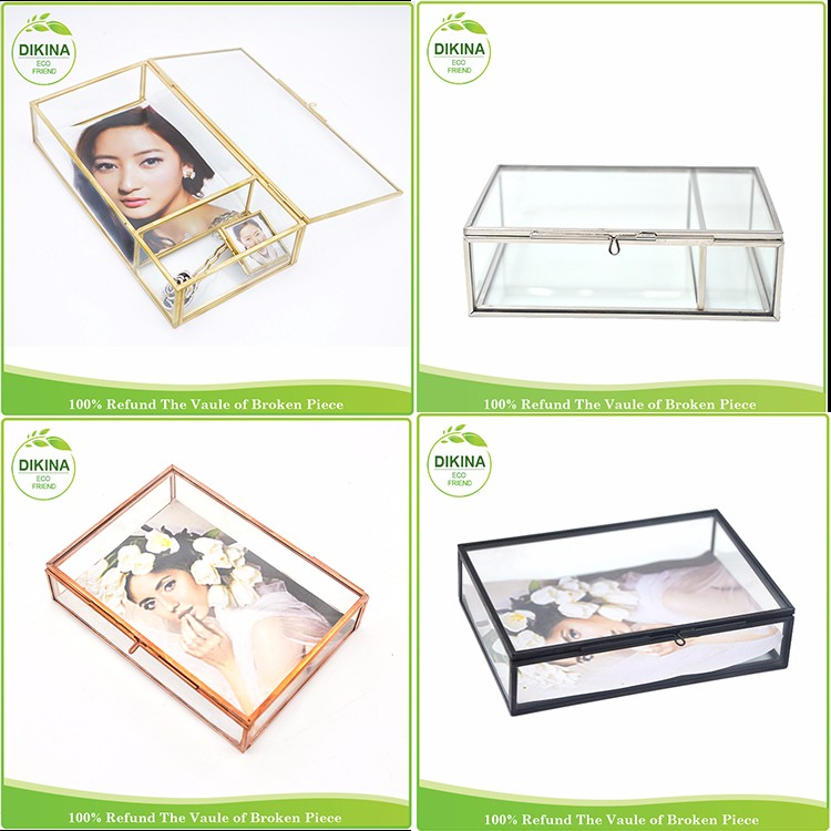 Any sizes custom order for 16.5*12*3.8cm fit 4*6 photo picture display case >< storage jewelry brass glass box