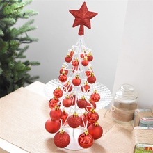 Colorful Decorated Tabletop Metal Wire Christmas Tree With Christmas Baubles