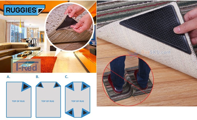 Shenzhen Furniture Sticky Material Non Slip Rug Corner Grippers Grip Carpet  Corner