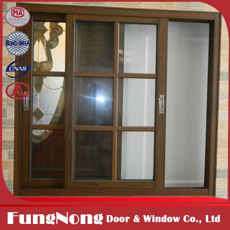 Aluminum Horizontal Sliding Glass Window With Grill Design