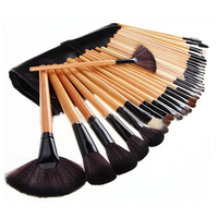 Wooden Style 32pcs Makeup Brushes with rolling PU bag 32 brush sets makeup Professional