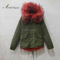 Watermelon red short style raccoon fur collar ladies coat design pakistan for winter