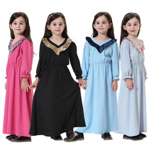 New Arrivals Ramadan Eid Arab Dubai Muslim Children Abaya Long Sleeve Islamic Maxi Dress Kids Abaya