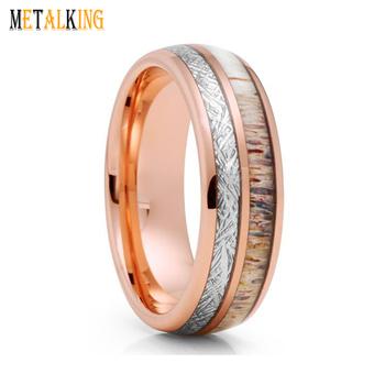 8mm Tungsten Ring Inlay Imitation Meteorite And Deer Antler Rose