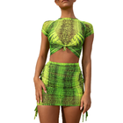 Sexy Snake Print Dress Skirt and Top Womens Neon Two Pieces Skirt Set Top and Skirt Set Snake Skin Two Pieces Bodycon Dress