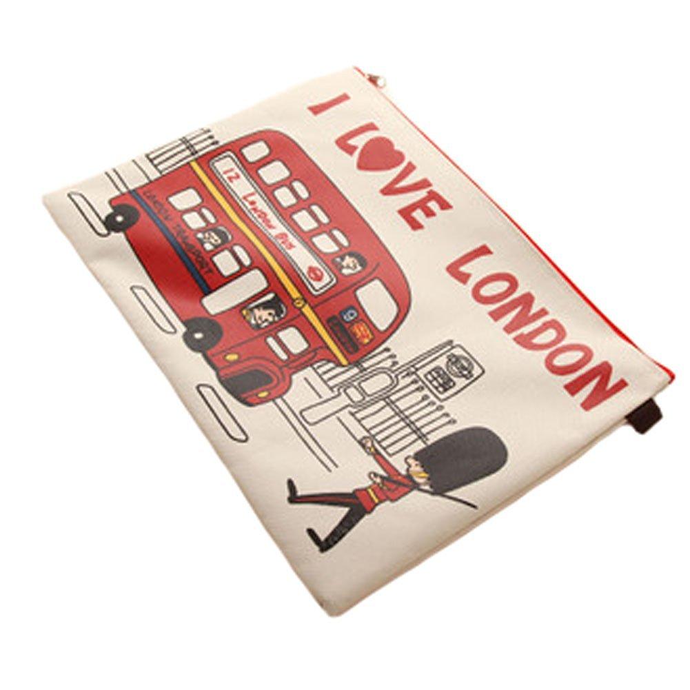 Set of 2 Canvas Document File Stationery Zipper Bag Holder Pocket Pouch - Beige