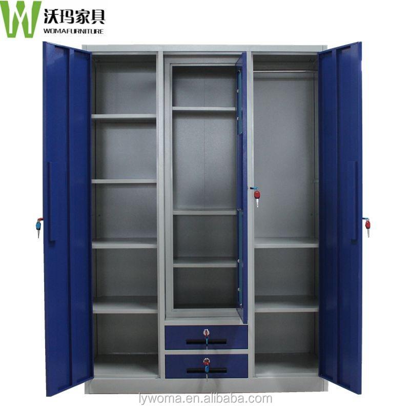 Modern Triple Door Drawer Almirah Bedroom Glass Almirah