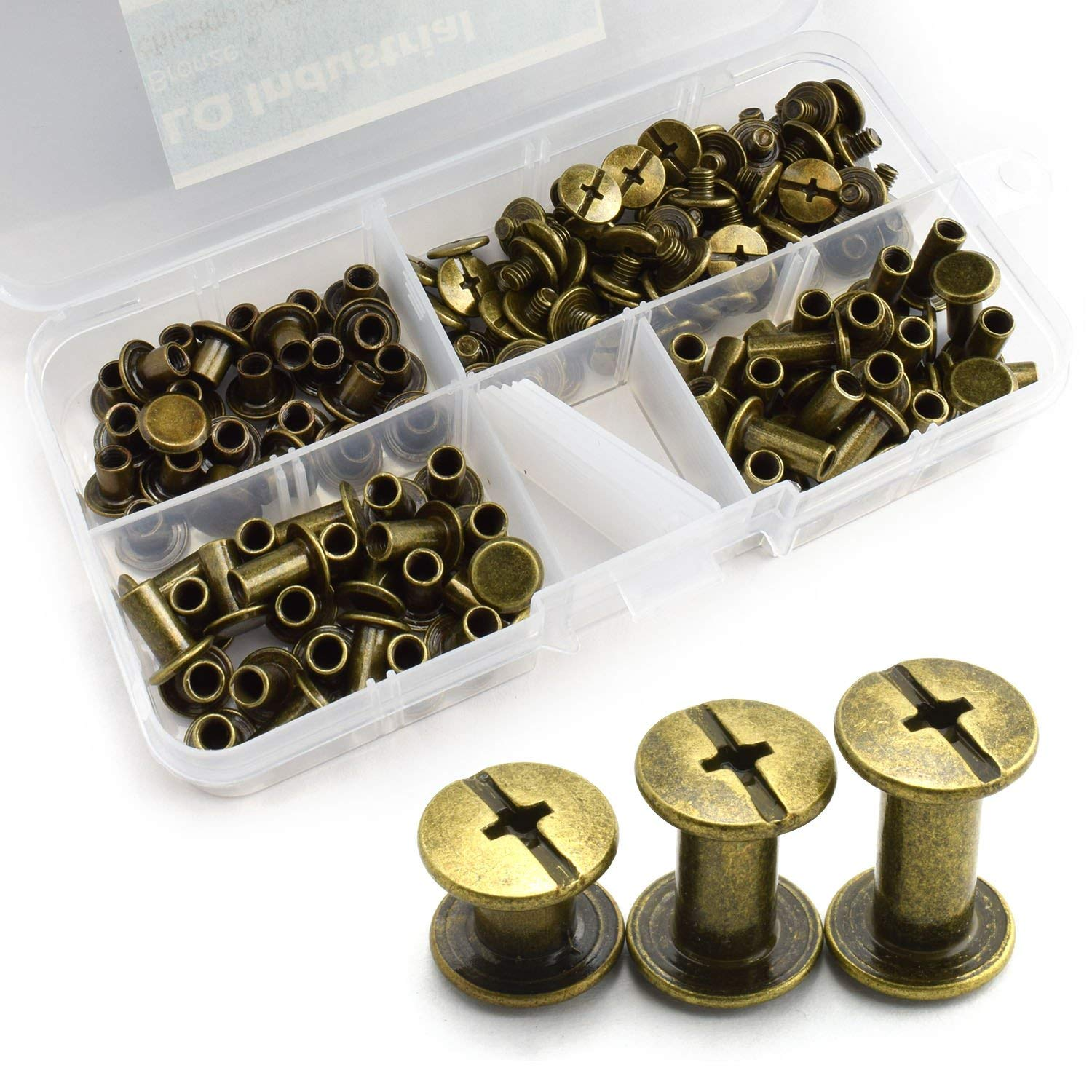 LQ Industrial 75 Sets Bronze M5 Chicago Screw Assorted Kit Slotted Phillip Head Binding Screws Rivet Assembly Bolt Nail Rivet For Book Binding DIY Leather Craft M5x6 M5x10 M5x12