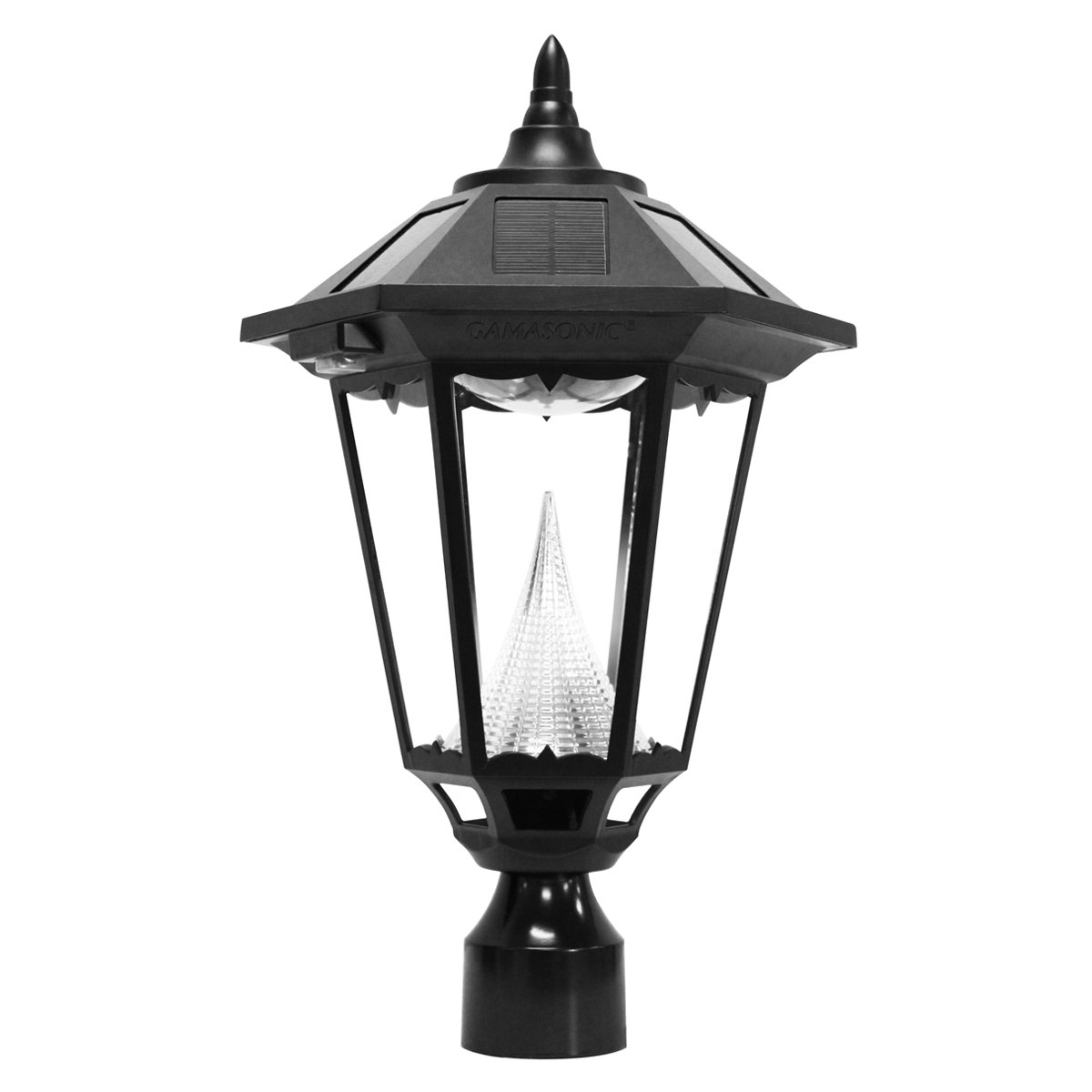 Gama Sonic Windsor Solar Outdoor Post Light - Black Finish GS-99F