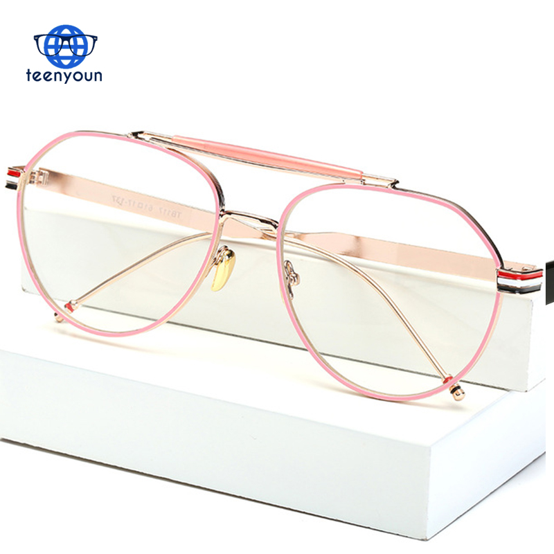 Vintage Metal Frames Myopia Glasses Clear Lens Men Eyeglasses Optical Glasses Male 117 Aviator Women Lunette eyewear