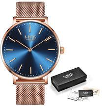 Женские повседневные кварцевые часы LIGE, розовое золото, белый цвет, наручные часы для девушек, 2020(Китай)