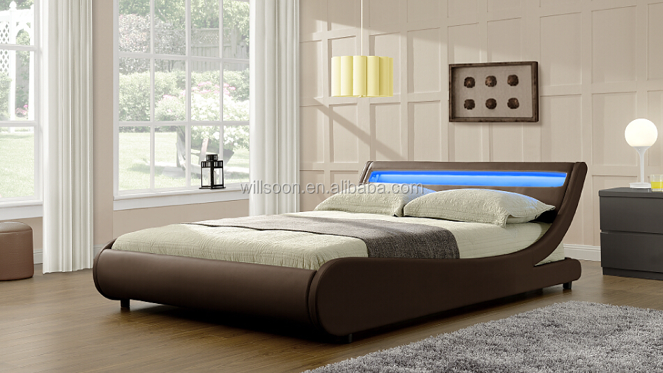 Modern European S-shaped Bedroom Furniture Design Double Size Faux ...