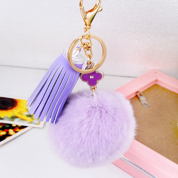 Rabbit Fur Ball PomPom Cute Sparkly Rhinestone Swan Key Chain Holder Ring Hand Bag Charm Accessory