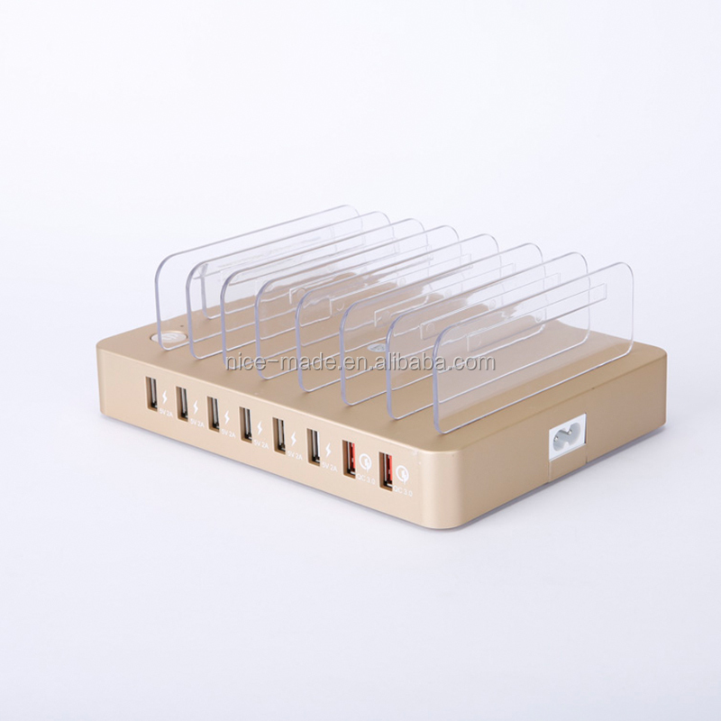 Wholesale smart multi mobile accessories phone home flat 8 usb port charger charging station