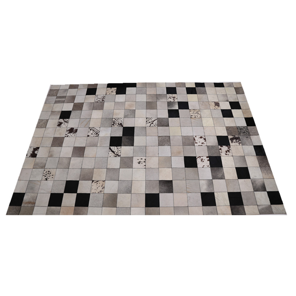 Natural Cowhide Rugs Hot Patchwork Cow Skin Carpet Material Hand Hooked Rug 100 Leather