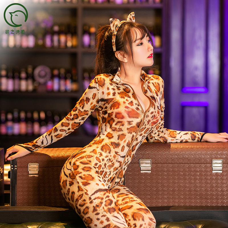 6031 wholesale sexy Halloween costumes for women leopard jumpsuit lingerie cosplay pussy cat erotic costumes fancy dress