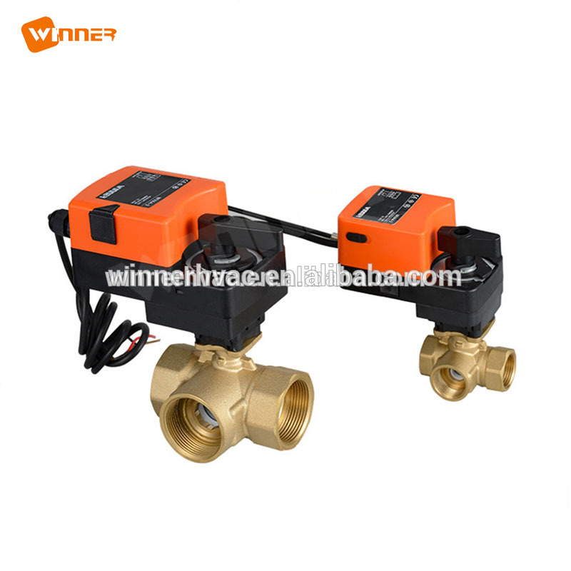 Heat Pump 24VAC/DC Three Way Ball Valve DN50 Electric Actuator Ball Valve with Hand Lever ON/OFF Type